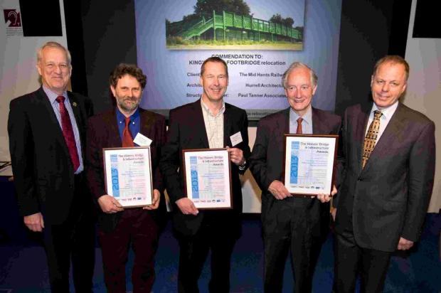 Hampshire Chronicle: L to R: Geoff French, chairman Institute of Civil Engineers, Colin Chambers MD of Mid Hants Railway, Stephen Hurrell of Hurrell Architecture, David Snow, Mid Hants Railway project leader and Terry Girdler, chairman of judges