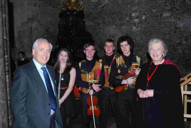 Members of the Hampshire Music Service performed in Winchester's Great Hall for the Silver Jubilee celebration of Hampshire & the Islands Historic Churches Trust with Trust Chairman Lady Appleyard and HCC Leader Cllr Roy Perry