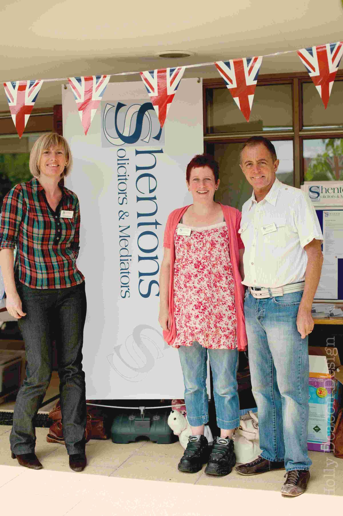 The team from Shentons Solicitors and Mediators at the event in 2012. L to R: Kate Mottershead, Elisabeth Pollard, Nicholas Bell. Credit: Holly Deacon Design)