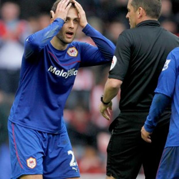 Hampshire Chronicle: Cardiff defender Juan Cala reacts to being sent off at Sunderland