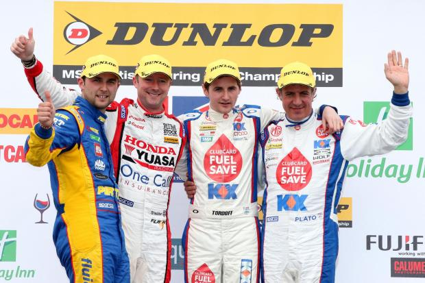 TITLE FIGHT: The front-runners from Donington Park are looking for another strong weekend – from left: champion Andrew Jordan, Gordon Shedden, Sam Tordoff and Jason Plato.