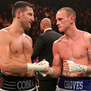 George Groves, right, is concentrating on his upcoming fight with Carl Froch, left, not a rematch with James DeGale