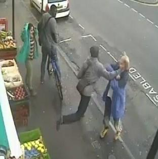 Handout photo taken from CCTV footage issued by Dorset Police which shows the moment Andrew Young was killed with a single punch to the head by Lewis Gill.