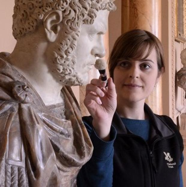 Hampshire Chronicle: Tabatha Donaldson, a NT Conservation Cleaner at Wimpole Hall in Cambridgeshire as she cleans a Roman bust of Caracalla