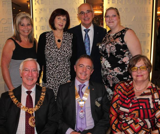 back row: Winchester Rotarian Robert Parsons with midwives Nikki Brown, Birgit Gray and Laura Aspinall; front row: Winchester Rotary President Nick Bell (centre) with the Mayor and Mayoress of Winchester]