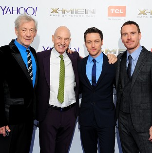 Sir Ian McKellen, Patrick Stewart, James McAvoy and Michael Fassbender arriving at the X-Men Days of Future Past UK premiere at The West End Odeon, Leicester Square, London.