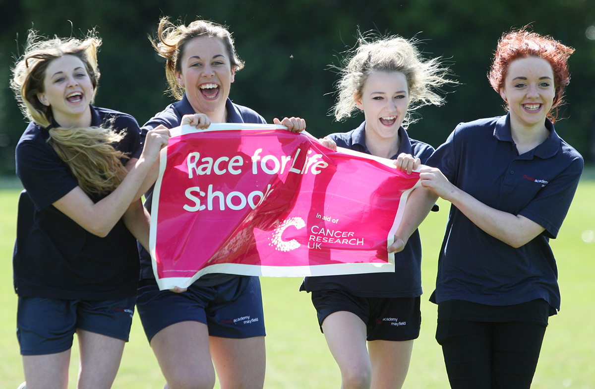 Evey Sinclair , Megan Holme, Natalie Czaja and Page Burrows help launch Race for Life Schools