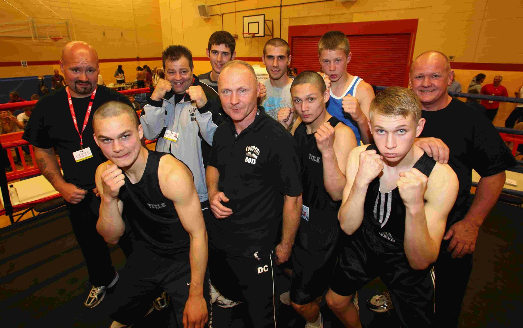 Coopers Boys boxers and coaches who took part in the show at the Empire Hall, Totton.