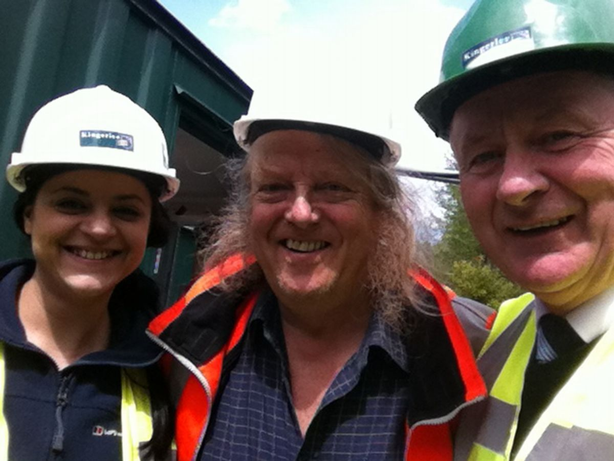 Left to right: Alex Makrygianni, Kingerlee project co-ordinator, Phil Harding, Pat O'Callaghan, Kingerlee site manager.