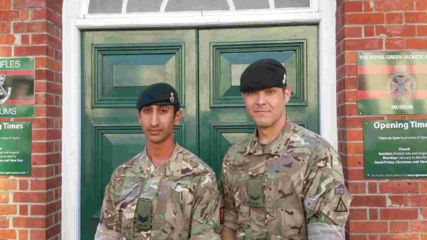 (left to right) Corporal Gill Avtar and Lance Corporal Andrew Borthwick at the Green Jackets Museum at Peninsula Barracks.