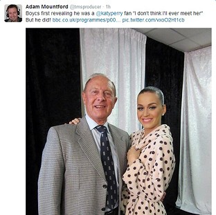 Image taken from the Twitter feed of Adam Mountford, @tmsproducer, of Geoffrey Boycott and Katy Perry.