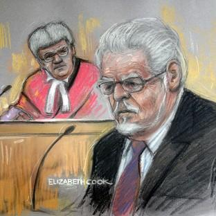 Hampshire Chronicle: Court artist drawing by Elizabeth Cook of Rolf Harris in the dock at Southwark Crown Court. (Elizabeth Cook/PA)