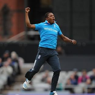 Chris Jordan celebrates after dismissing Sri Lanka's Kumar Sangakkara
