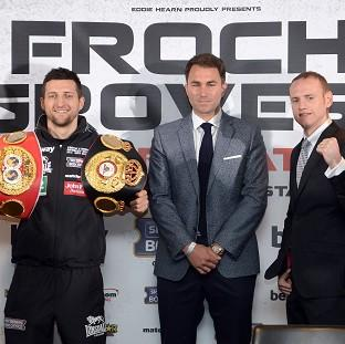 Hampshire Chronicle: Carl Froch, left, and George Groves, right, with boxing promoter Eddie Hearn