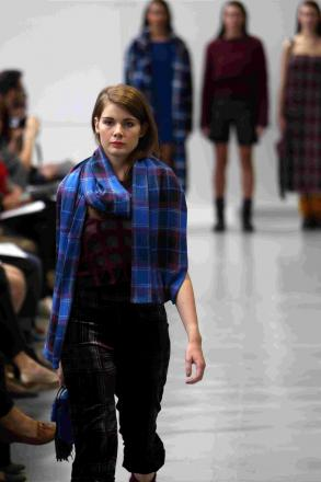 A model on the catwalk at Winchester School of Art's graduate fashion show