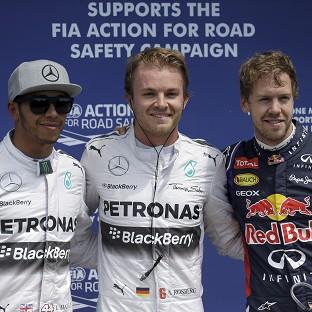 Nico Rosberg, centre, got the upper hand on team-mate Lewis Hamilton, right, in qualifying for the Canadian Grand Prix (