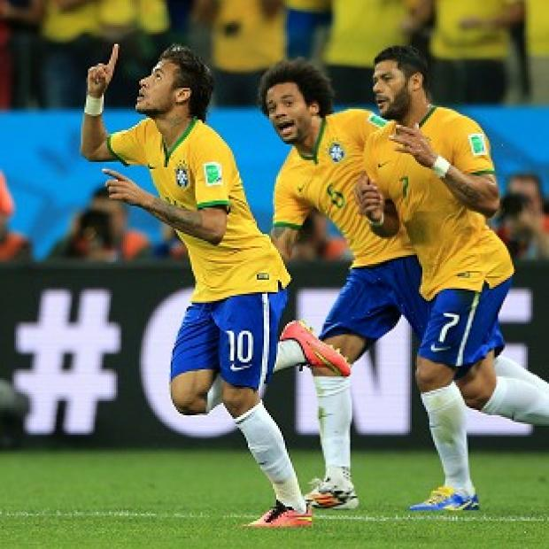 Hampshire Chronicle: Neymar (left) celebrates with Hulk and Marcelo after scoring his first goal