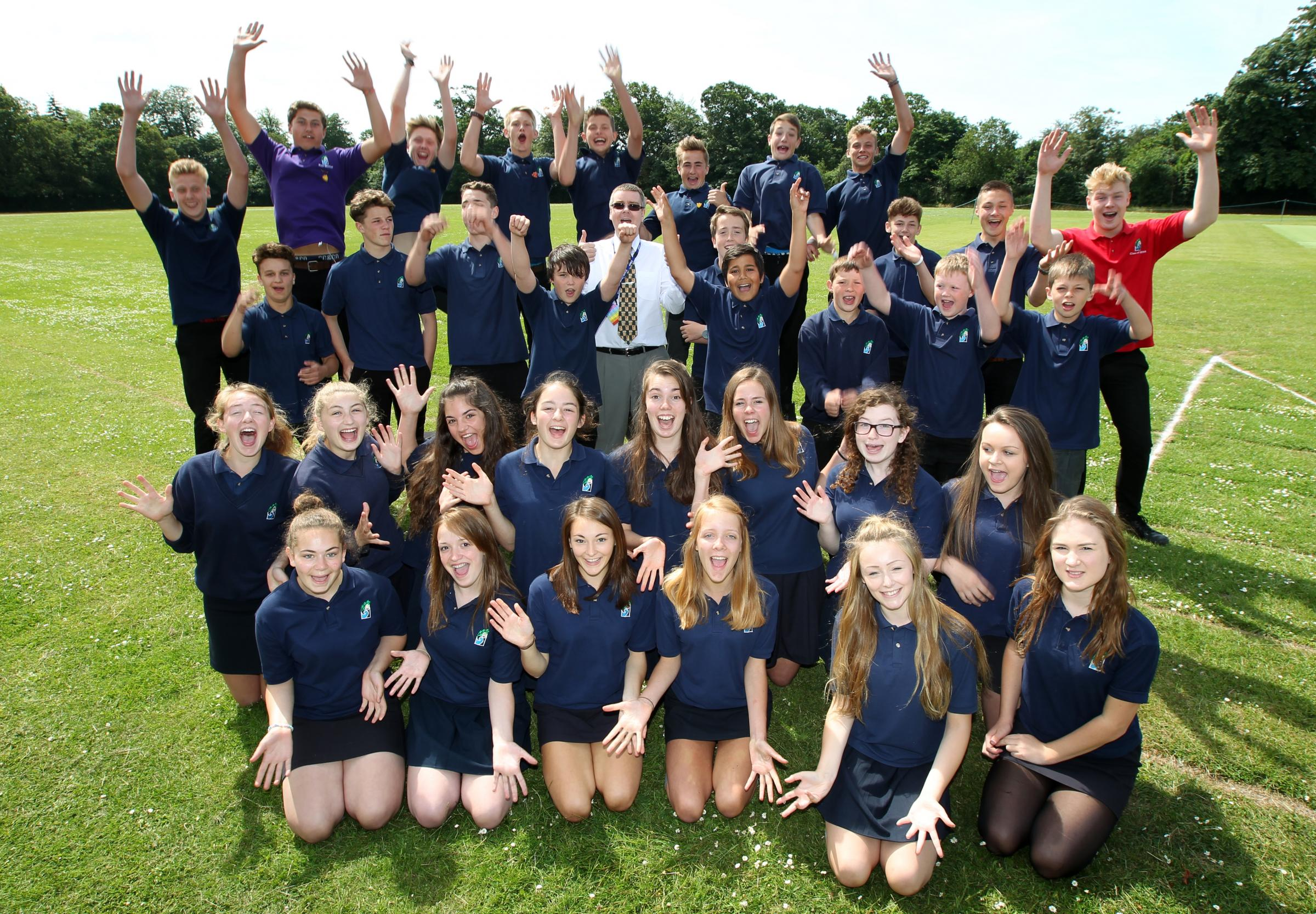 Headteacher Chris Wilshire celebrates Priestlands £2m grant with students