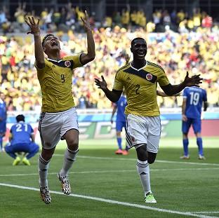 Colombia's Teofilo Gutierrez (9) celebrates his goal (AP)