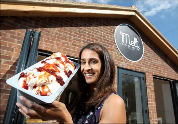 Hampshire Chronicle: Mandeep Sidhu shows off some of the parlour's wares.