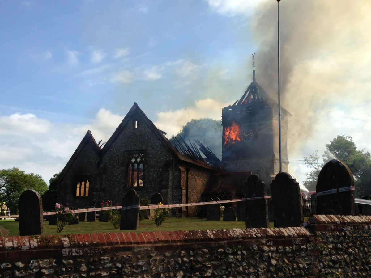 Agony for Ropley vicar as his church burns