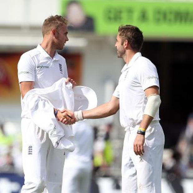 Hampshire Chronicle: Stuart Broad, left, claimed a hat-trick while Liam Plunkett finished with five for 64
