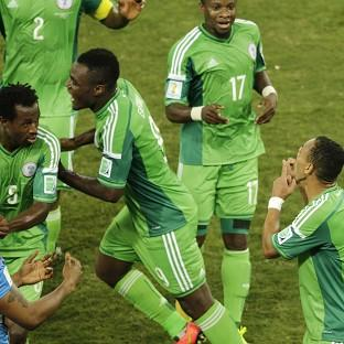 Nigeria's Peter Odemwingie, right, celebrates with team-mates after scoring the winner. (AP)