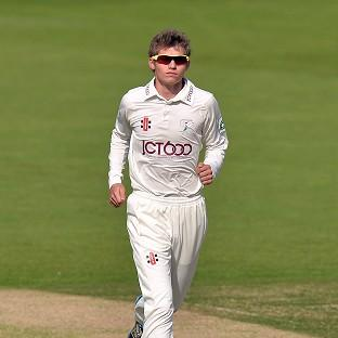 Yorkshire spinner Karl Carver, pictured, claimed the wicket of Keith Barker at Edgbaston