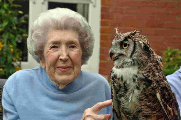 Visiting Colten Care home residents were birds of the Falconhigh display team