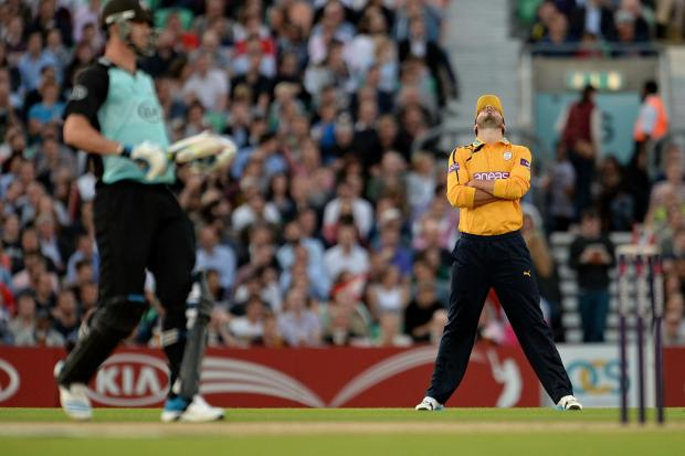 James Vince looks up in despair as Hampshire crash to defeat at The Oval (LMI Photography)