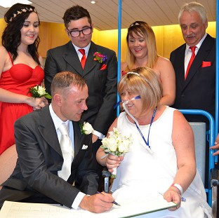 The wedding of Joann Howells and Neil Ward at Worthing Hospital (Western Sussex Hospital NHS Foundation Trust/PA)