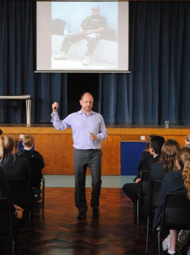 Hampshire Chronicle: David Picton talking to Perins School Year 8 pupils