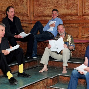 Terry Jones, Eric Idle, Michael Palin, Terry Gilliam and John Cleese preparing for their live show