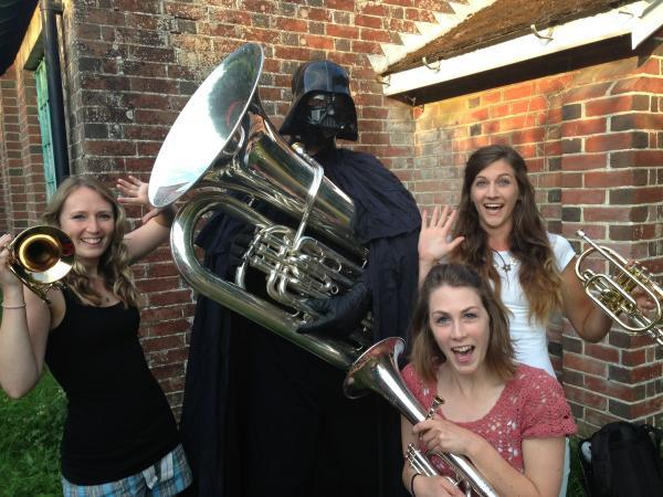 Darth Vader helps Michelmersh Silver band players rehearse  the Star Wars theme