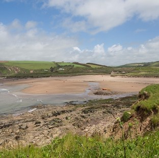 The view from the coast towards Bantham beach