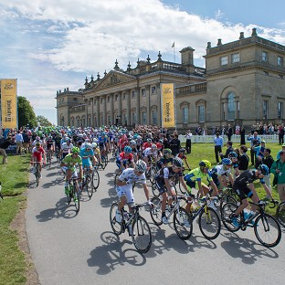 Chris Froome, front right, finished sixth on the 190.5 kilometre first stage from Leeds to Harrogate