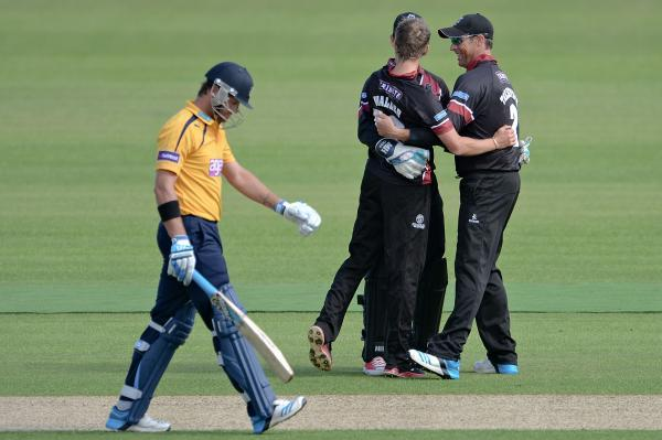 Hampshire Chronicle: Somerset celebrate the wicket of Sean Ervine