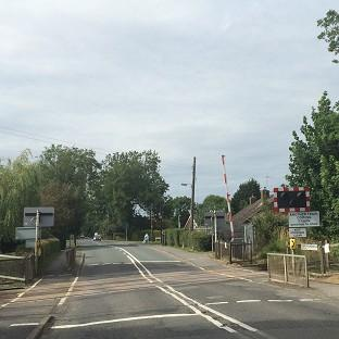 A level crossing at Cross Lane, near Lincoln city centre, where an elderly couple died