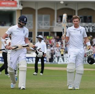 James Anderson, left, and Joe Root made 198 in their world-record stand