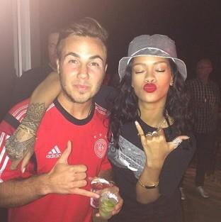 Rihanna celebrated Germany's World Cup victory with winning goal scorer Mario Gotze (Rihanna/Twitter)