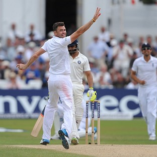 James Anderson, left, and Ravindra Jadeja, batting, are involved in a conduct row