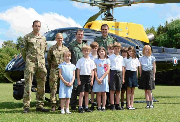 Army helicopter drops in to Alresford school