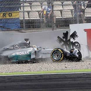 Lewis Hamilton's crash has resulted in a gearbox change (AP)