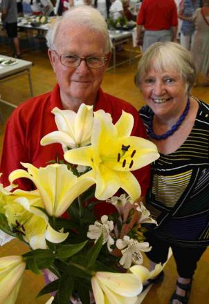 Tim and Pat Gover, winners of Perennials, 6 stems, up to 3 kinds any variety class.