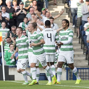 Virgil van Dijk, right, scored twice in Celtic's comfortable win