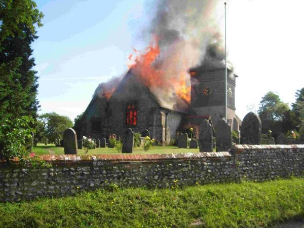 St Peter's Church, in Ropley, burned down in June.