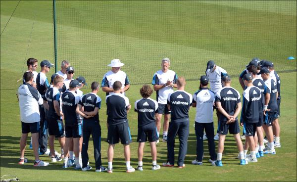 England coach Peter Moores briefs his team at the Ageas Bowl today. Picture by Robin Jones.