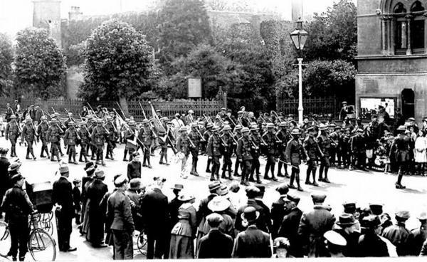 The Hampshire Regiment parades in The Broadway, Winchester in June 1919. Photo courtesy of The Royal Hampshire Regiment