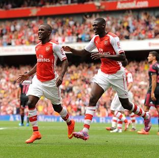 Arsenal's Joel Campbell, left, and Yaya Sanogo, right, impressed Arsene Wenger