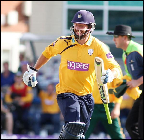 James Vince celebrates, as Hampshire make their winning run